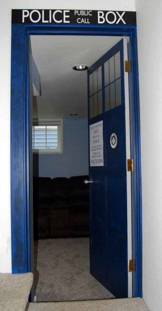 A TARDIS door was the perfect entry to our geeky media room! - www.thehandymansdaughter.com