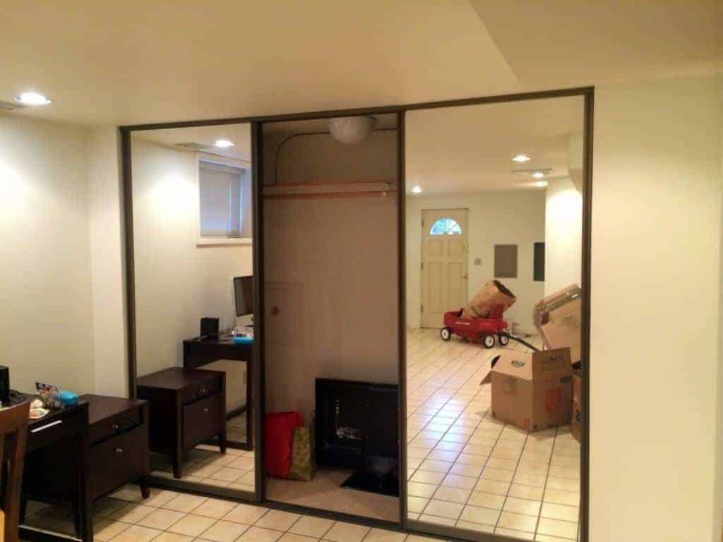 mirrored closet door