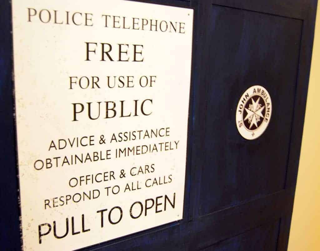 Proper signage is key to the perfect TARDIS door! - www.thehandymansdaughter.com