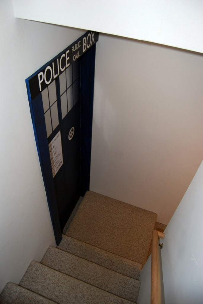 The TARDIS door greets you as you come down the basement stairs - www.thehandymansdaughter.com