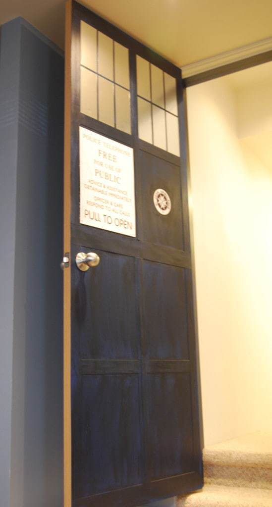 The view from inside our media room admiring the new TARDIS door! -  & How to Make a TARDIS door - The Handyman\u0027s Daughter