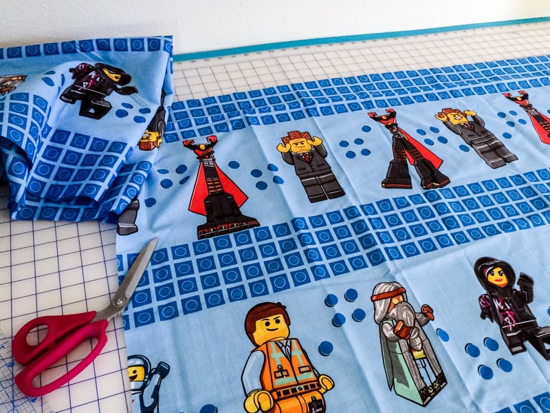 Cutting flat sheet from Lego Movie bedding set to create curtains