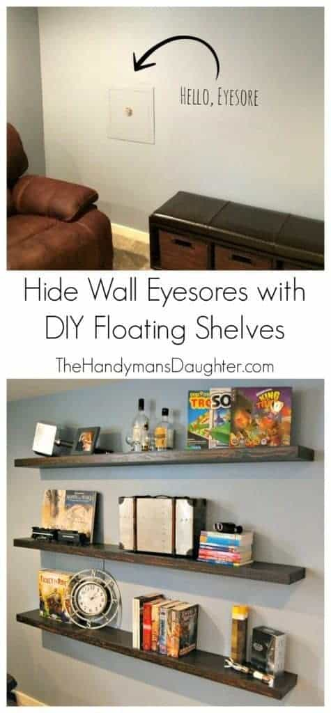 Do you have an eyesore like my water shutoff valve in the middle of your wall? Disguise it with these DIY floating shelves, and it will almost disappear while still allowing quick access in an emergency. www.thehandymansdaughter.com
