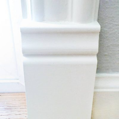 Add a plinth block to your door trim for a seamless transition to baseboards!