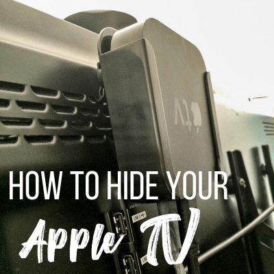 Apple TV bracket hidden behind flat screen tv