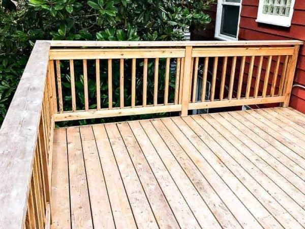 It's important to stain a new deck 6-12 months after it has been built.