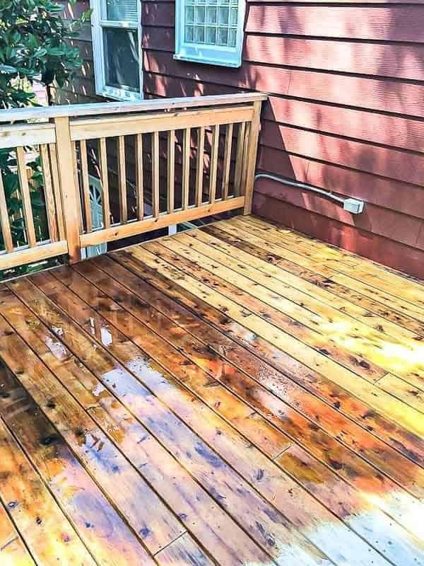 Before you stain a new deck, you need to clean the surface of dirt and UV damaged wood fibers.