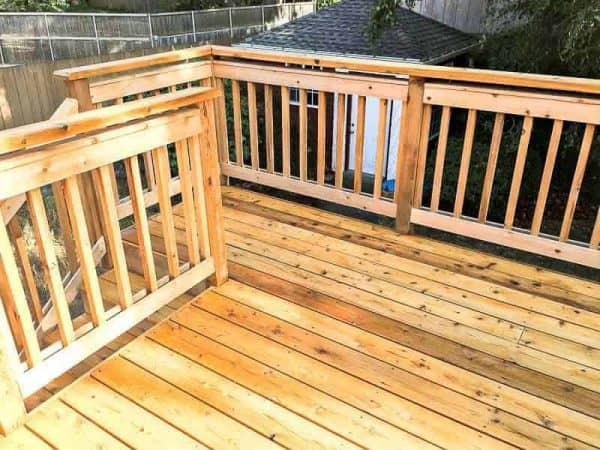 When you stain a new deck, start with the railings and work your way down.