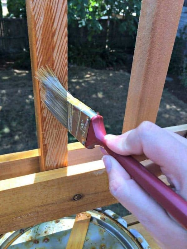 staining the slats of the deck with TWP