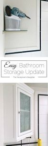 This bathroom corner cabinet was easy to install and doubled my storage! Check out my handy tips for making it look built in at www.thehandymansdaughter.com!
