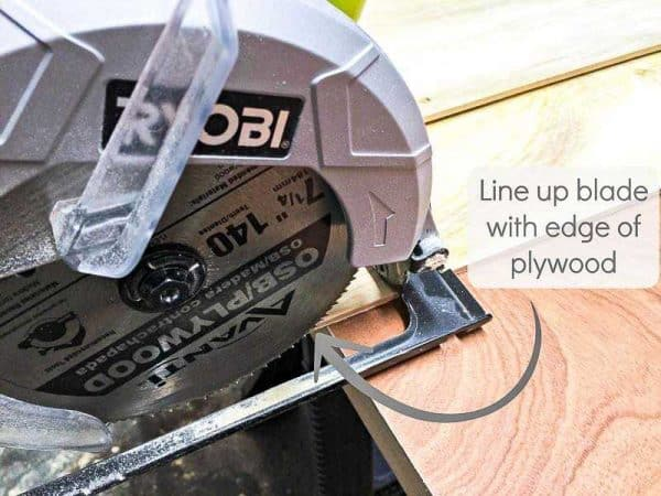 "To create your own circular saw jig, line up the blade with the edge of a piece of 1/4"" plywood"