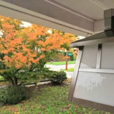See how I updated our front porch lighting and house numbers just in time for the leaves to change - via The Handyman's Daughter