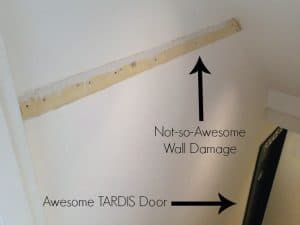 Awesome TARDIS door, not-so-awesome wall damage - The Handyman's Daughter