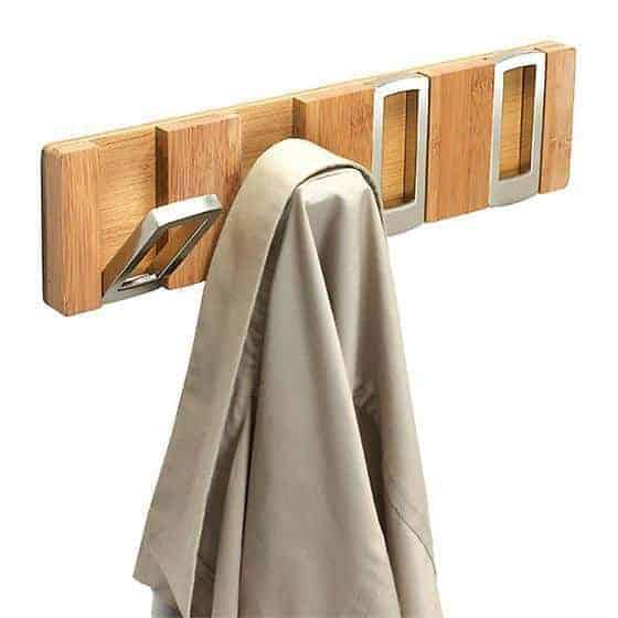 These modern coat hooks are so cool, and they fold up when not in use to keep a low profile! - thehandymansdaughter.com