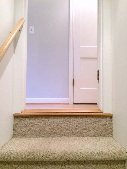 Installing Trim Around The Basement Door And Painting It The Same Color As  The Walls Made ...