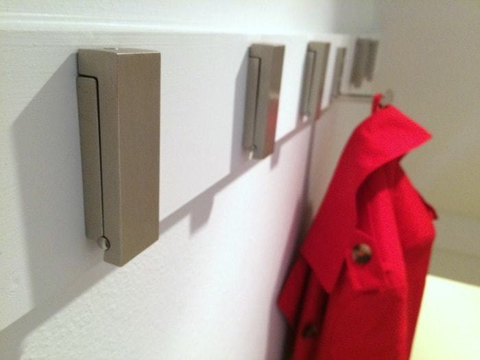 Our new folding coat hooks are a great solution to a small staircase - The Handyman's Daughter