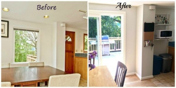 Moving the door to the deck from the kitchen to the dining room created so many possibilities in our future kitchen remodel. - The Handyman's Daughter