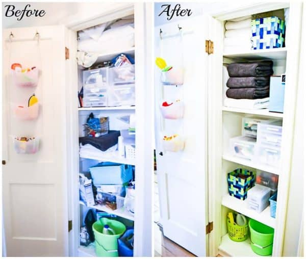 Get your linen closet organized with Daiso products! Here's a before and after of mine.