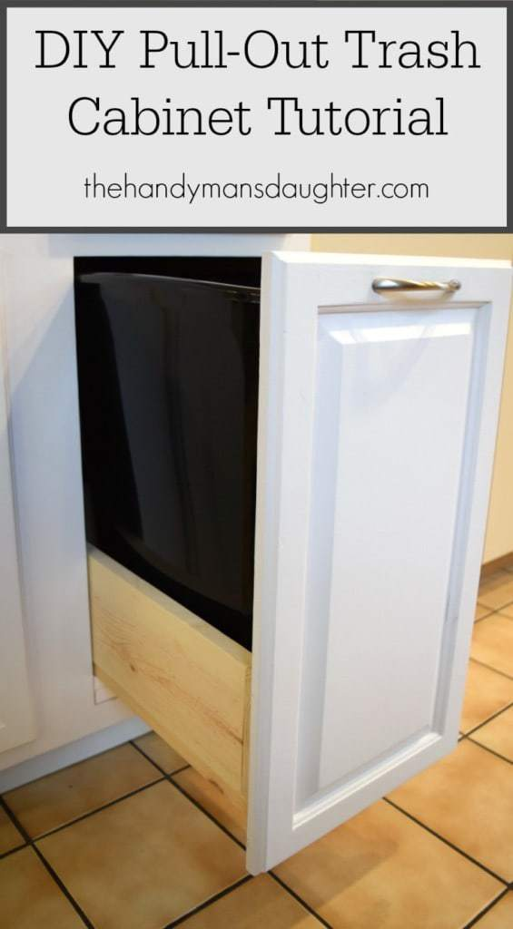 Diy pull out trash cabinet tutorial the handyman 39 s daughter for Premade kitchen drawers