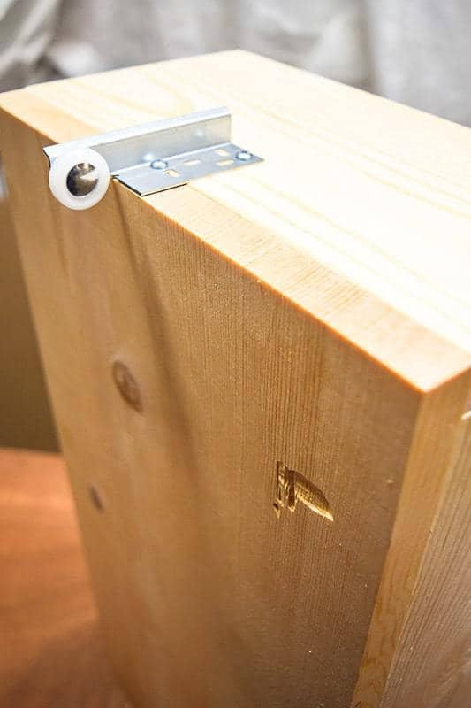 Attach Wheel To Back Of Trash Can Cabinet Drawer