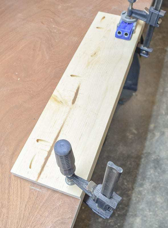 Drill pocket holes for trash can cabinet drawer