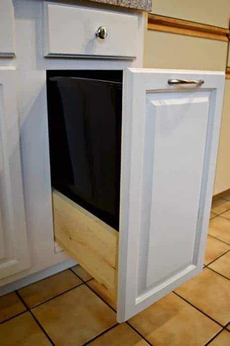 DIY garbage pull out cabinet - The Handyman's Daughter