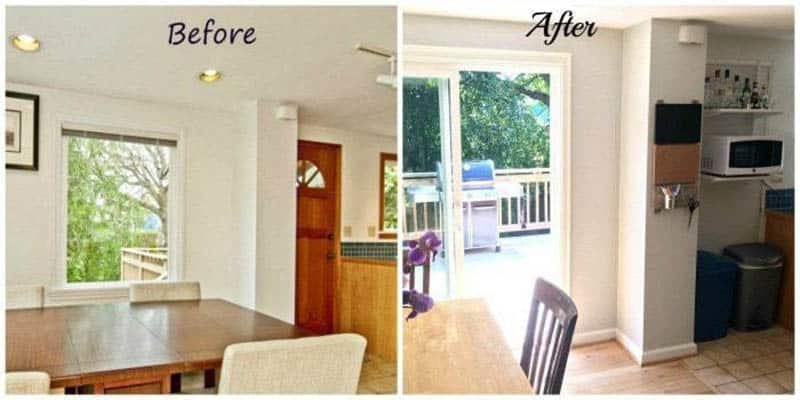 before and after images of moving kitchen door