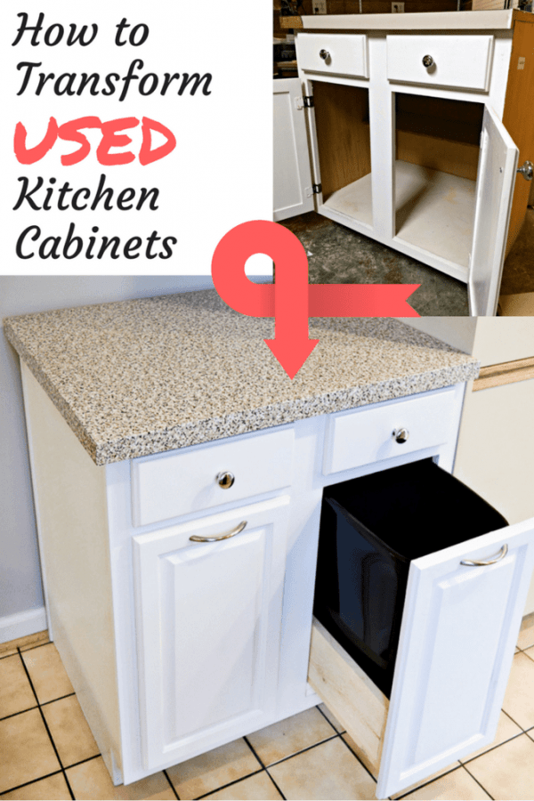 When you buy used kitchen cabinets, you save money AND keep them out of landfills! See how I transformed mine into a trash and recycling cabinet and added more counter space to my kitchen! | recycled cabinets | upcycling | salvage | kitchen update | kitchen ideas
