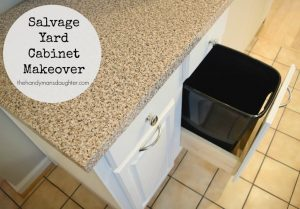I gave this salvage yard find a complete overhaul with new paint, contact paper on the countertops, and custom pull outs for garbage and recycling! - The Handyman's Daughter