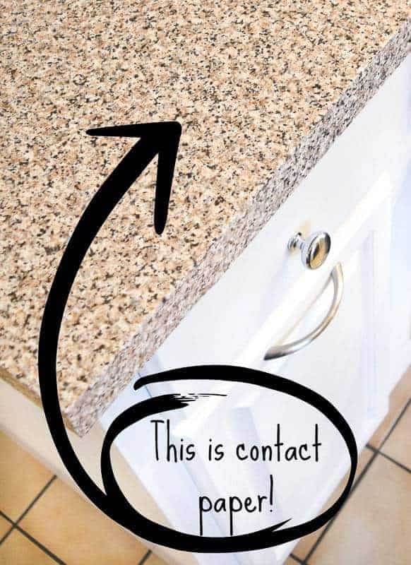 Add contact paper to your countertop for an instant update!