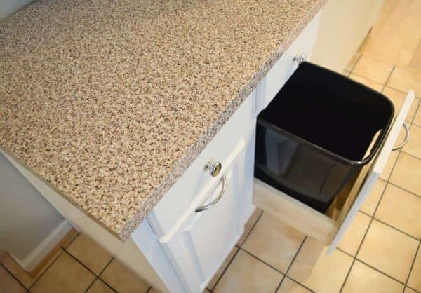 Granite patterned contact paper is a great way to disguise ugly countertops! - The Handyman's Daughter