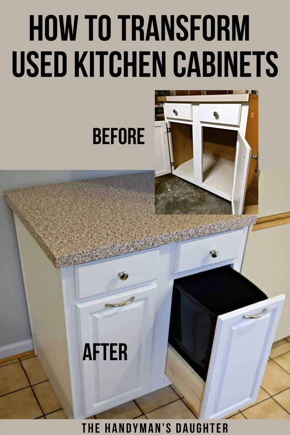 image before and after of used kitchen cabinet with text overlay