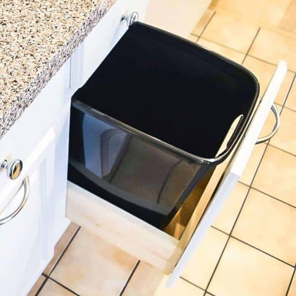kitchen cabinet with trash can drawer