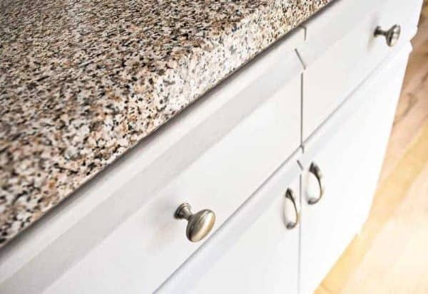 painted melamine and oak trim kitchen cabinets