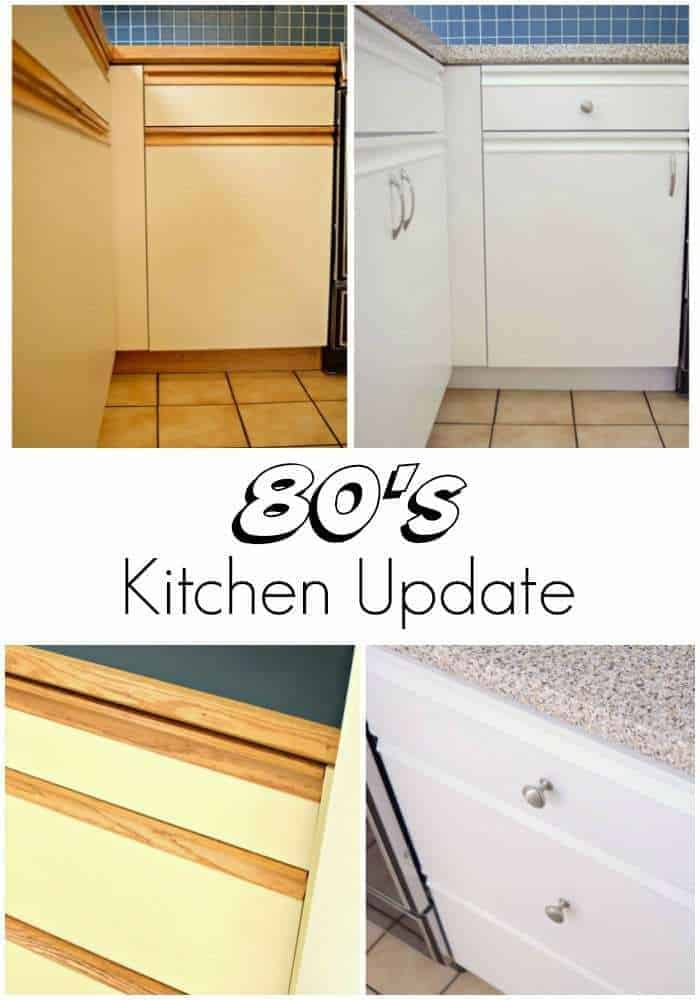 My 80s kitchen is no more! Check out how paint, hardware and contact paper totally transformed the space.