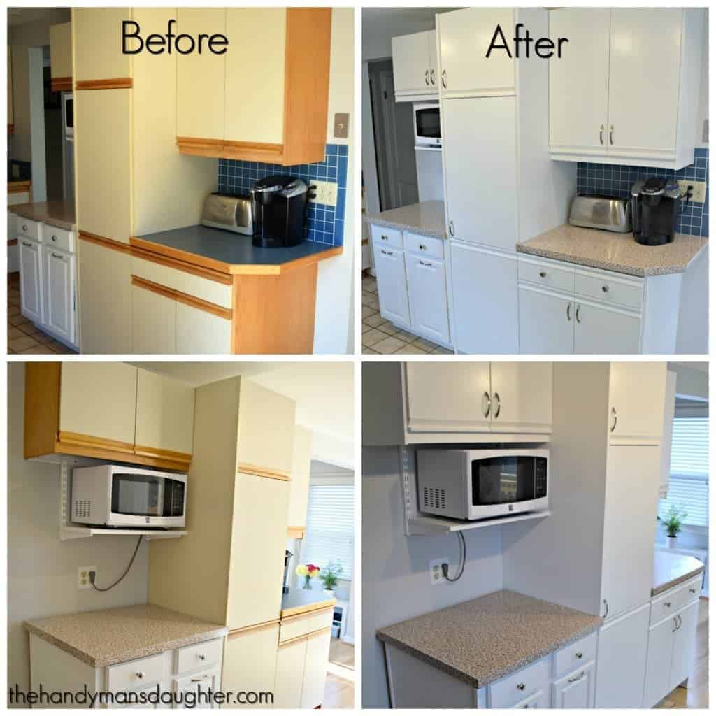 Tips for updating melamine cabinets with oak trim the for Can you replace kitchen cabinets without replacing countertop