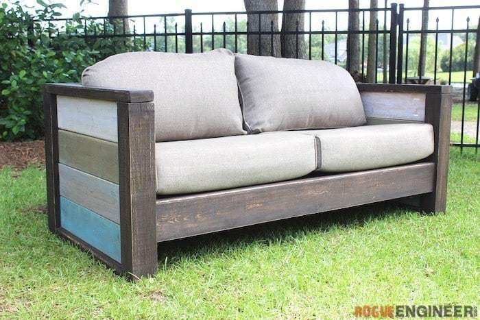 DIY Outdoor Sofa With Cushions And Varied Colors On Arm Rests