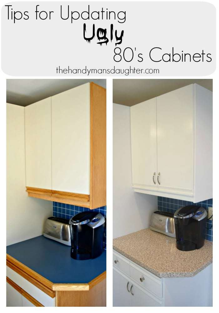 Tips for updating melamine cabinets with oak trim the for 80s kitchen ideas