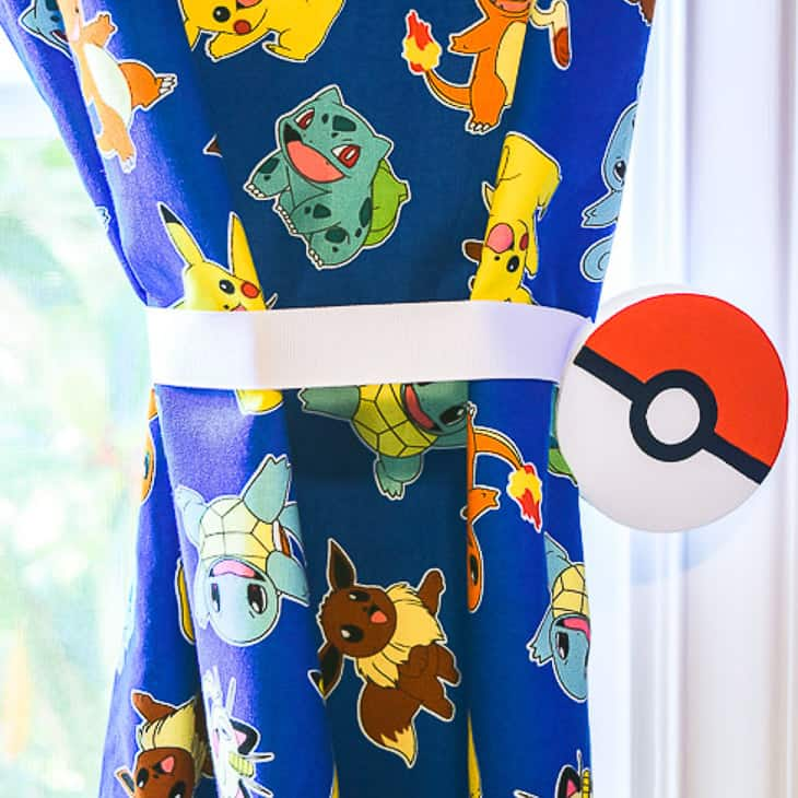 pokeball magnetic curtain tie backs