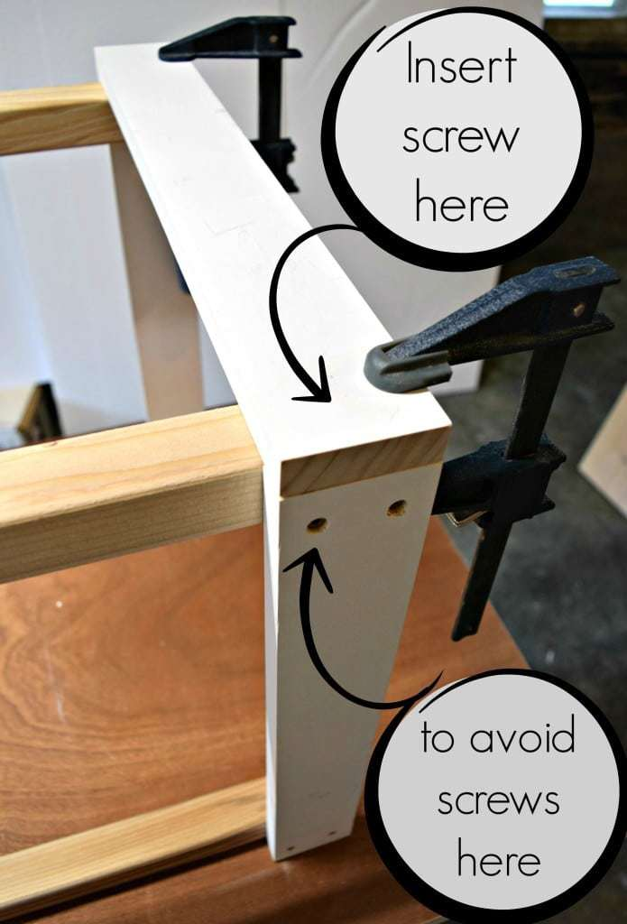Use clamps to hold pieces square. Be sure to avoid screws that have already been inserted. - The Handyman's Daughter