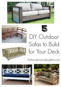 collage of DIY outdoor sofa photos with text overlay
