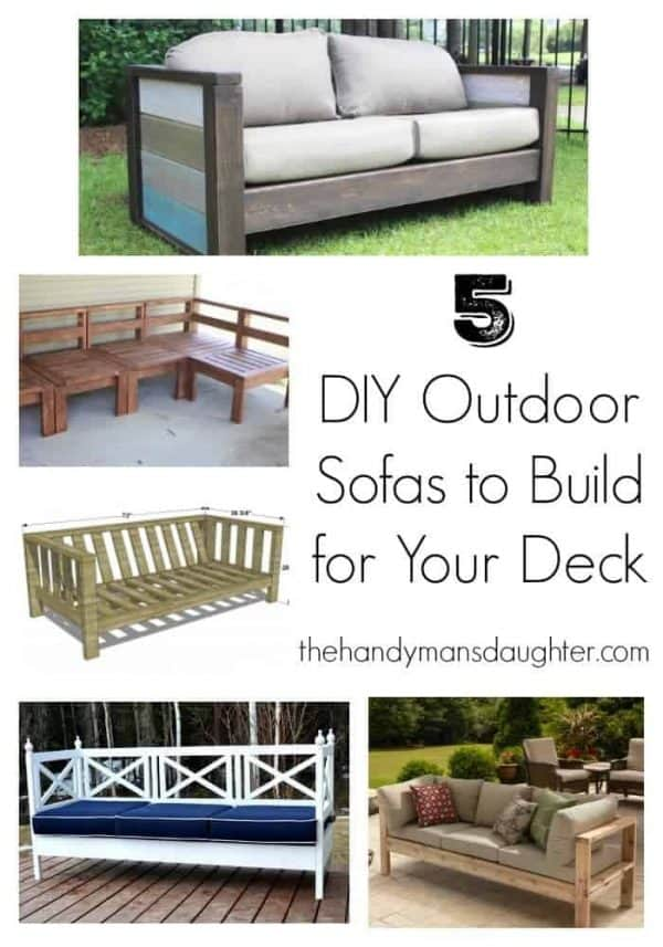collage of DIY outdoor loveseats and sofas