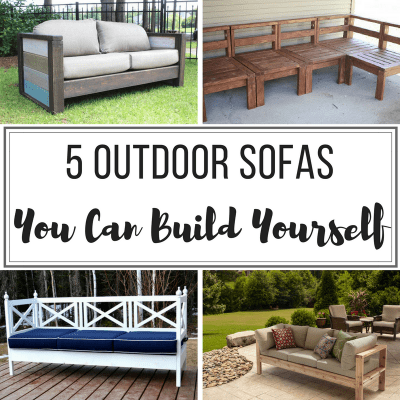 "DIY outdoor sofas collage with text overlay ""5 Outdoor Sofas You Can Build Yourself"""