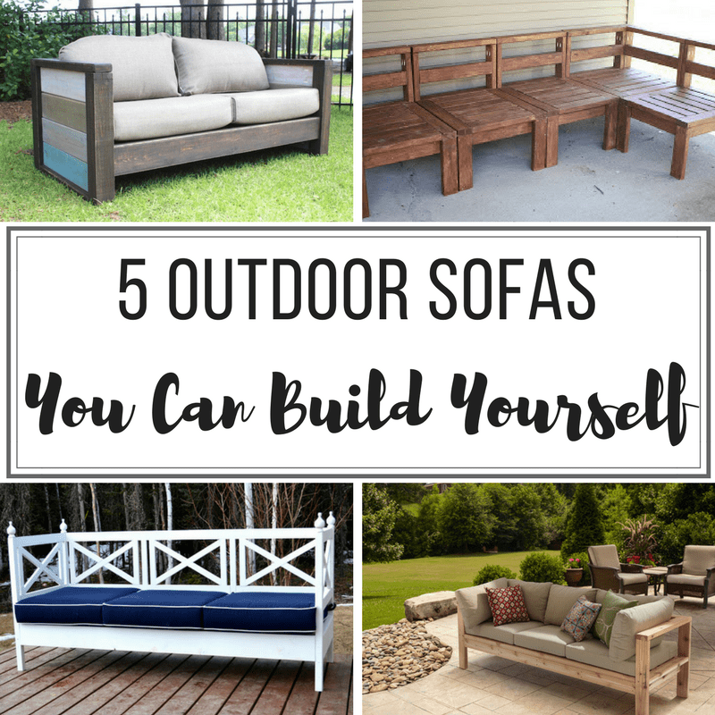DIY outdoor sofas collage with text overlay