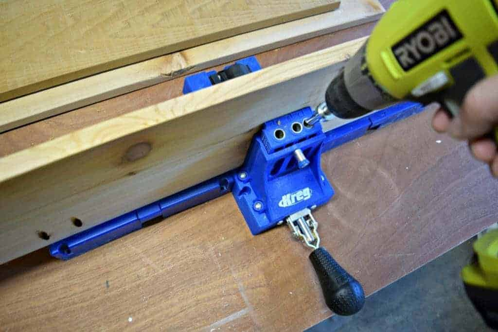 Drilling pocket holes for my outdoor storage bench lid with my new Kreg Jig K5! - www.thehandymansdaughter.com