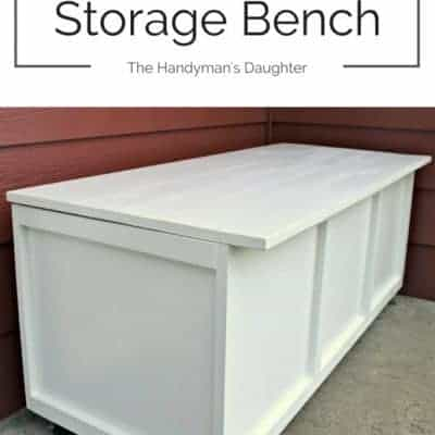 This outdoor storage bench serves as seating and storage on our small front patio. Make your own with the tutorial at The Handyman's Daughter!