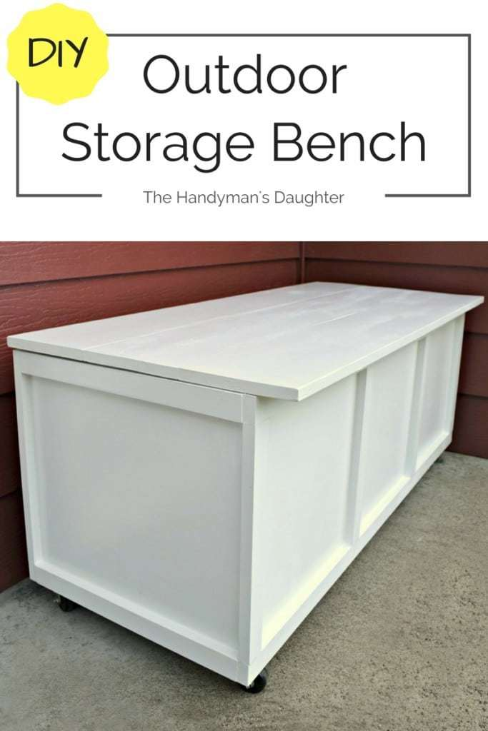This outdoor storage bench serves as seating and storage on our small front patio. Make & DIY Outdoor Storage Bench - Take Two - The Handymanu0027s Daughter