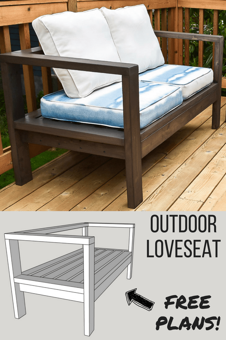 DIY outdoor loveseat with 3D model of woodworking plans