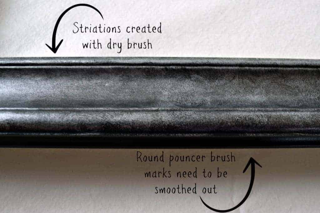 Run a dry brush lightly over the mostly-dry paint to create striations without losing the random effect underneath - thehandymansdaughter.com