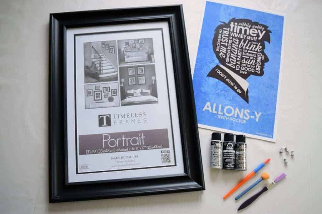 These are the materials you will need to create your own faux metallic picture frame - thehandymansdaughter.com